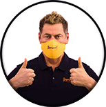 Vince Offer giving two thumbs up with his ShamWow mask on